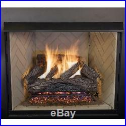 Fireplace Logs 30 Inch Oak Vented Natural Gas Log Set Glowing Embers 70000 BTU