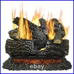 Fireplace Logs Dual-Burner Vented Natural Gas Home Heat Vented 18-in 45000-BTU