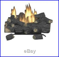 Fireplace Logs Vent Free Propane Gas with Remote Savannah Oak Home Heat 18 in
