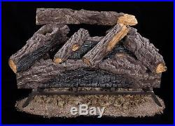 Fireplace Natural Gas Log Set Vented Fire Place Oak Wood Logs 24 Inch Realistic