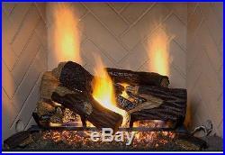 Fireplace Natural Gas Log Set Vented Fire Place Oak Wood Logs 24 Oak Realistic