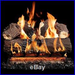 GasLogGuys 18Canyon Fire Charred Oak Vented Nat. Gas log set + H burner+Remote
