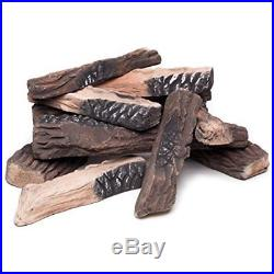 Gas Fire Large Fireplace Logs Set 10 Pcs Ceramic Wood All Types Pits Realistic