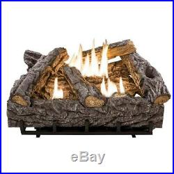 Gas Fireplace Logs Set 24 in. Vent-Free 7-Refractory Cement With Thermostat