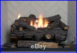 Gas Fireplace Logs Vent-Free 30 in. Large LP Propane With Remote Control Grate