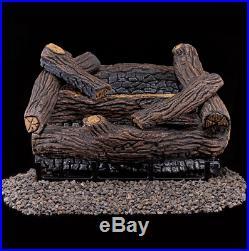 Gas Set Log Natural Vented 18 Inch Oak Fireplace Logs Remote Burner Ventless