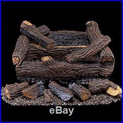 Gas Set Log Natural Vented Inch Oak Fireplace Vent Logs Remote Burner Ventless