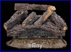 Gas Vented Natural Log Fireplace Oak Logs Fire Insert Inch Realistic Burner Dual