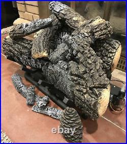 Hargrove Fireplace Yukon Char 24 Vent-Free Millivolt Gas Log Set with Burner