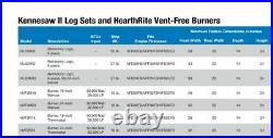 Hearthrite Kennesaw II Vent Free Refractory Log Set 24 Natural Gas Remote Ready