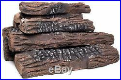 Large Gas Fireplace Logs 10 Piece Set of Ceramic Wood Logs Use in Indoor/Outdoor
