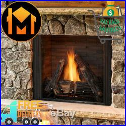 Majestic Courtyard Outdoor Gas Fireplace 36 HD Logs Premium Stacked Interior