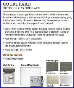 Majestic Courtyard Outdoor Gas Fireplace 42 Premium Herringbone Standard Logs