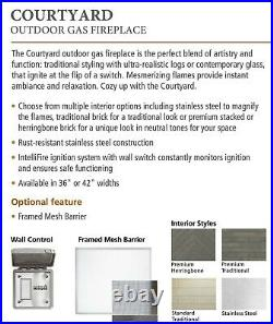 Majestic Courtyard Outdoor Gas Fireplace 42 Standard Panel with HD Logs PACKAGE