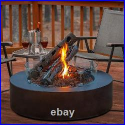 Maxam 24 Decorative Steel Fire Pit Log for Gas Propane Outdoor Fireplace Pits