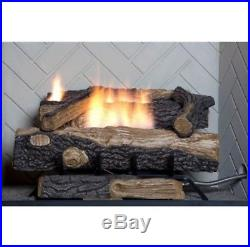 NATURAL GAS FIREPLACE LOGS Ventless Heater 24 Vent Free Log Insert Dual Burner