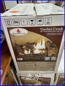 NEW Everglow TCVFM18NL 18 in. Timber Creek Vent Free Dual Fuel Gas Log Set