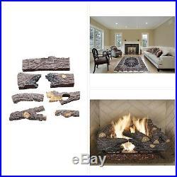Natural Gas Fireplace Heater Log Set 18 in. Split Oak Vented Realistic Emberglow
