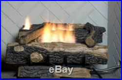 Natural Gas Fireplace Insert Fake Faux Logs Ventless Thermostat 24 inch Ventfree