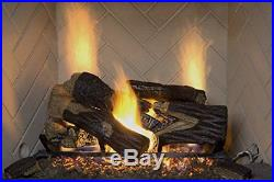 Natural Gas Fireplace Insert Fake Oak Logs Ventless Thermostat 24 inch Heater