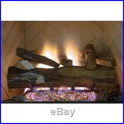 Natural Gas Fireplace Log Set With Remote Appalachian Oak Vented Realistic 24