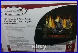 Natural Gas Fireplace Logs 18in 45000 BTU Dual-Burner Vented Pleasant Heart a13
