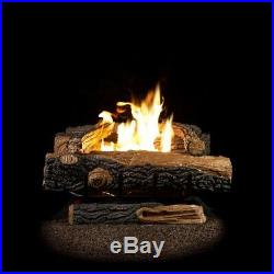 Natural Gas Fireplace Logs Thermostatic Control 24 in. Vent-Free Heating Oakwood