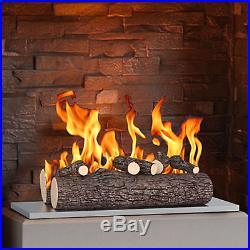 New Regal Flame 5 Piece 16 Ceramic Wood Gas Fireplace Logs Oak