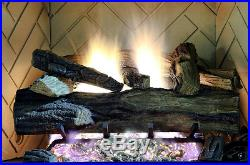 Oak Vented Natural Gas Fireplace Logs 24 in Remote Control Heating Flames Energy
