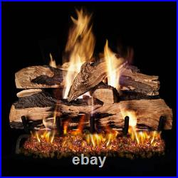 Peterson Real Fyre 16 Rustic Oak Gas Logs with Vented Nat. Gas G4 Burner & Remote