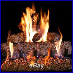 Peterson Real Fyre 24-inch Live Oak Log Set With Vented Burner and Gas Kit. Lit