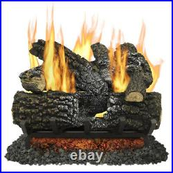 Pleasant Hearth 18-in 45000-BTU Dual-Burner Vented Gas with 7 Fireplace Logs