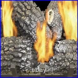 Pleasant Hearth 18 inch 45000-BTU Dual-Burner Vented Natural Gas Fireplace Logs
