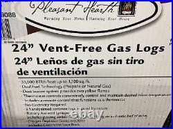 Pleasant Hearth 24 Vent Free Gas Log Set with Thermostat and Remote