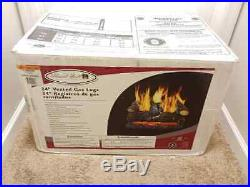 Pleasant Hearth 24 Vented Gas Logs 55,000 BTU Dual Burner Northridge Oak In Box