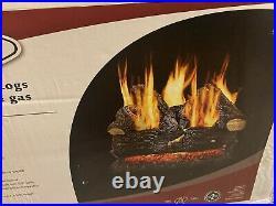 Pleasant Hearth 24 in 55000 BTU Dual Burner Vented Gas Fireplace Logs Concrete