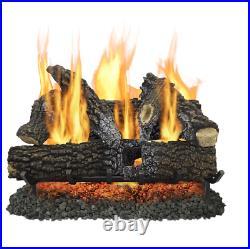 Pleasant Hearth 30-in 65000-BTU Dual-Burner Vented Gas Fireplace Logs # VLNO30D