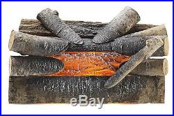 Pleasant Hearth Crackling Electric Fireplace Logs Real Wood Heater Insert Log