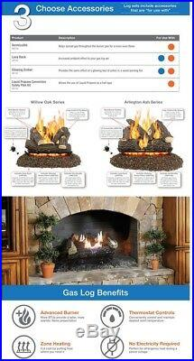 Pleasant Hearth Oak 30 In. Vent-Free Dual Fuel Gas Fireplace Logs Remote Control
