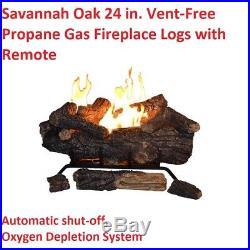 Propane Gas Fireplace Vent-Free Logs Heat REMOTE Control Oxygen Sensor 24