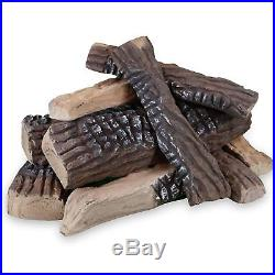 Regal Flame 10 Piece Set of Ceramic Wood Large Gas Fireplace Logs Logs For All &