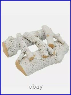 Regal Flame 5PC 16 Ceramic Propane Gel Ethanol Gas Fireplace FirePit Logs Birch