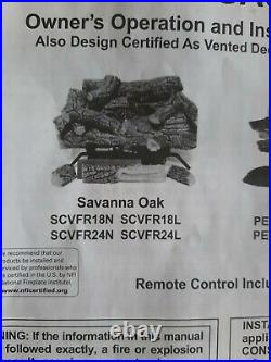 Savanna oak 24 in. SCVFR24N Vent Free natural Gas Fireplace Logs withremote