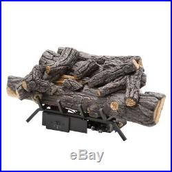 Savannah Oak 18 in. Vent-Free Natural Gas Fireplace Logs with Remote By Emberglow