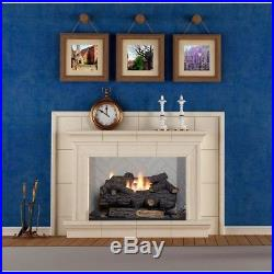 Savannah Oak 24 in. Vent-Free Propane Gas Fireplace Logs with Remote By Emberglow