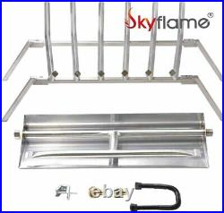 Skyflame 24-inch Fireplace Log Grate with Dual Burner Pan and Connection Kit