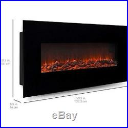 Valencia Black 50 Log Ventless Heater Electric Wall Mounted Fireplace Wood Gas
