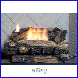 Vent Free Fireplace Logs Natural Gas Fire Log Set Heat Thermostat 24 in Oakwood