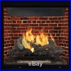 Vent Free Gas Log Set 30 Thermostat Heater Fireplace Insert Remote 33,000 BTUs