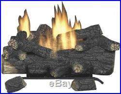 Vent Free Propane Gas Fireplace Logs With Remote Emberglow Savannah Oak 18 in